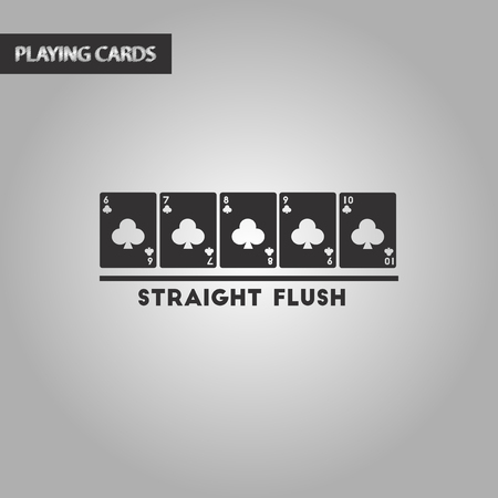 black and white style poker straight flush