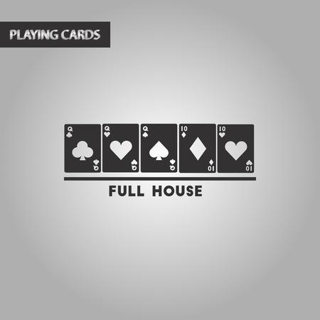 full house: black and white style poker full house