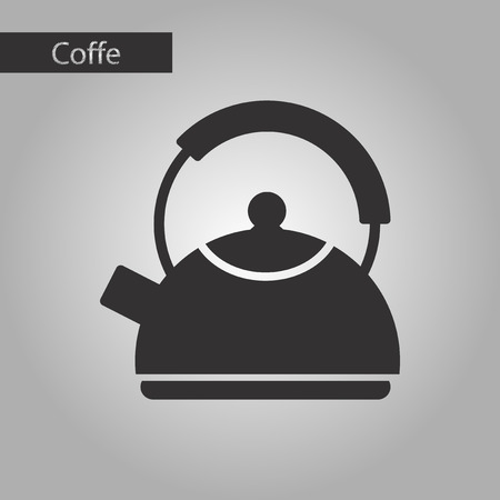 electric tea kettle: black and white style icon coffee dishware kettle