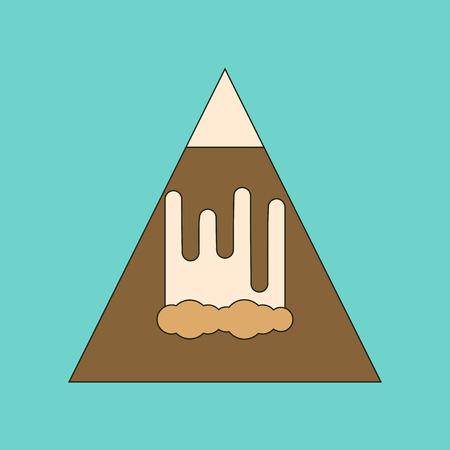 flat icon on stylish background mountain avalanche
