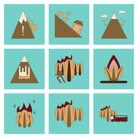 natural disasters: assembly of flat icons danger natural disasters Illustration