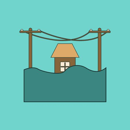 house flood: flat icon on stylish background flood house