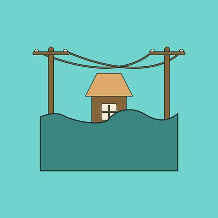 sea disaster: flat icon on stylish background flood house