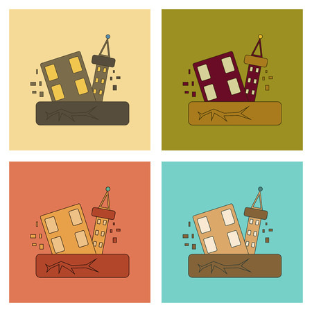 natural disaster: assembly of flat icons natural disaster earthquake Illustration