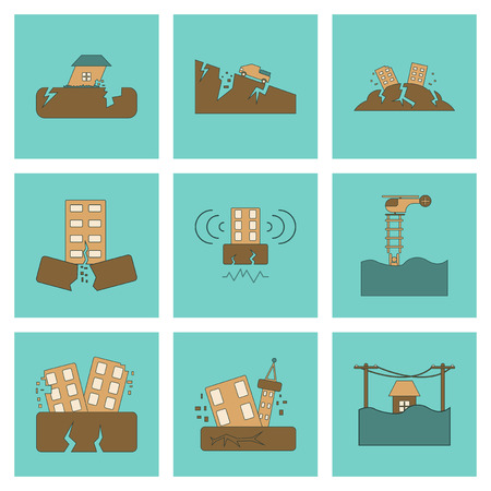 collapsed: assembly of flat icons disaster earthquake and flood