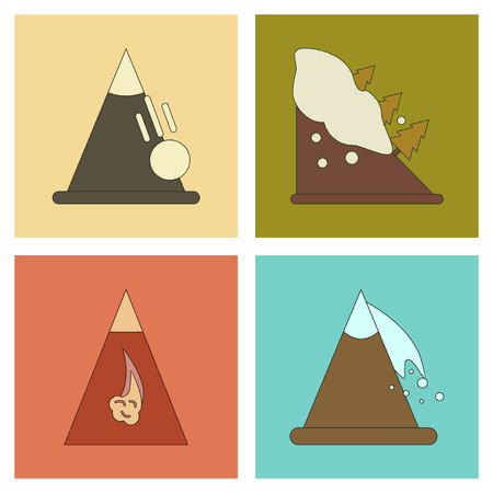 avalanche: assembly of flat icons mountains snow avalanche