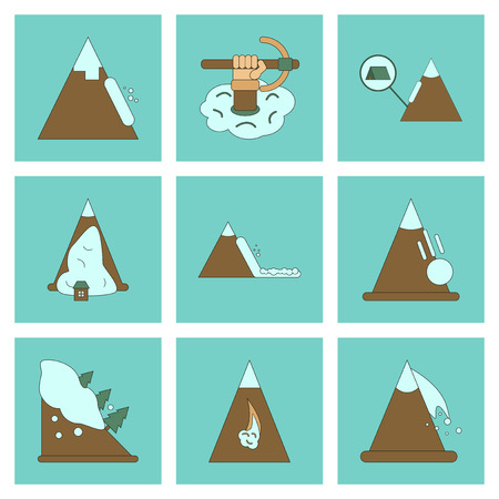glacial: assembly of flat icons mountains snow avalanche
