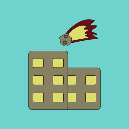 meteor crater: flat icon on stylish background meteorite falling on house Illustration