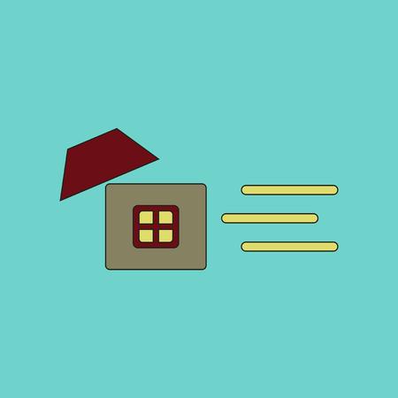 dangerous construction: flat icon on stylish background wind destroys house