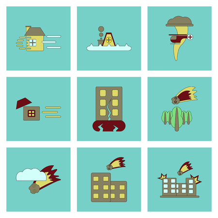disasters: assembly of flat icons danger natural disasters Illustration