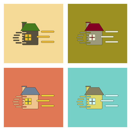 crushing: assembly of flat icons wind destroys house Illustration