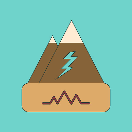 natural disaster: flat icon on stylish background natural disaster earthquake Illustration
