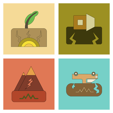 apocalyptic: assembly of flat icons natural disaster earthquake Illustration