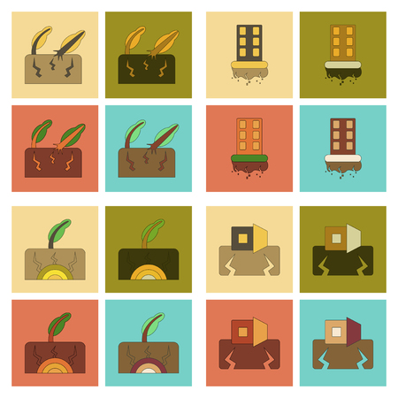 earthquake: assembly of flat icons natural disaster earthquake Illustration