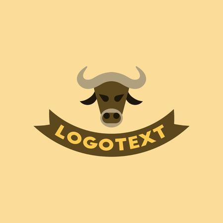 flat icon on stylish background bull logo