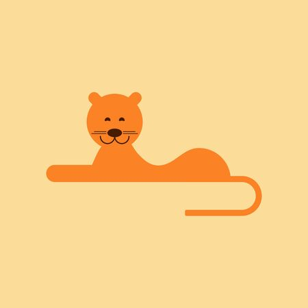 lioness: flat icon on stylish background cartoon lioness
