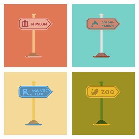 dolphinarium: assembly of flat icons sign aquatic Zoo dolphinarium park