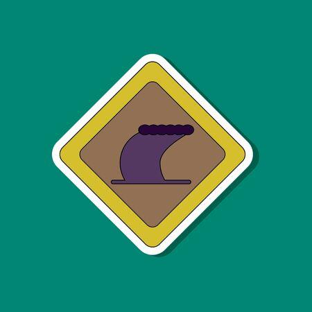 paper sticker on stylish background of tsunami sign