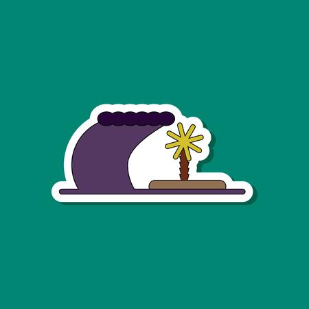 paper sticker on stylish background of tsunami Island