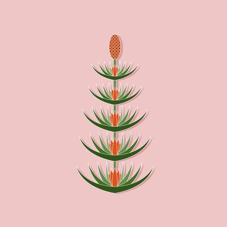 equisetum: paper sticker on stylish background of flower Equisetum