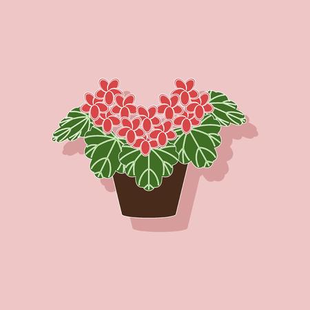paper sticker on stylish background of plant Pelargonium