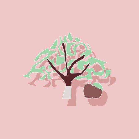 tannins: paper sticker on stylish background of plant Malus