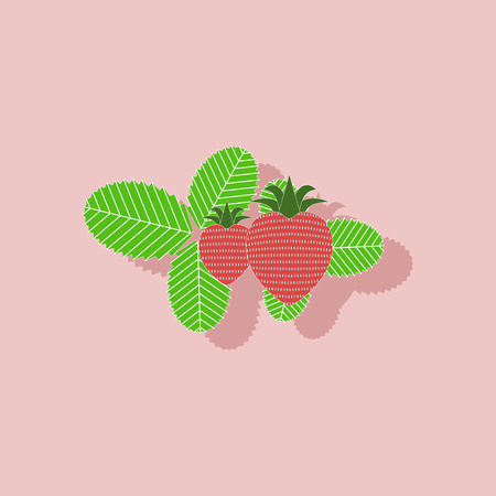 fragaria: paper sticker on stylish background of plant Fragaria