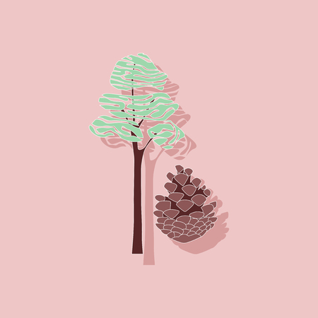 naturalized: paper sticker on stylish background of plant Pinus Illustration