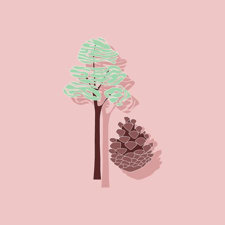 paper sticker on stylish background of plant Pinus Illustration