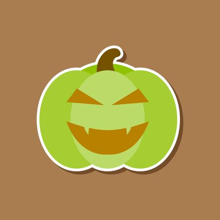 angry vegetable: paper sticker on stylish background of halloween pumpkin Illustration