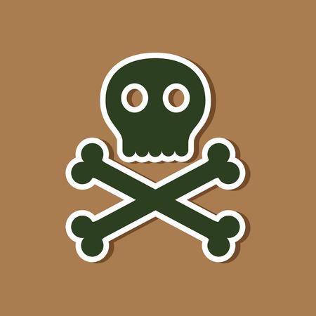 paper sticker on stylish background of halloween skull bones Illustration