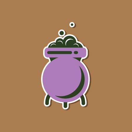paper sticker on stylish background of cauldron witches potion