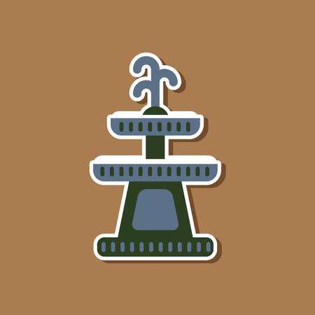 paper sticker on stylish background of halloween fountain