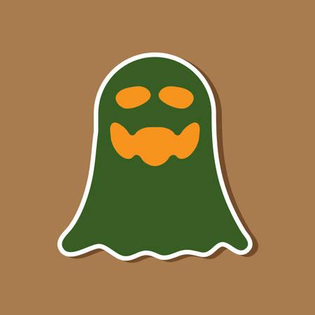 paper sticker on stylish background of Halloween ghost Illustration
