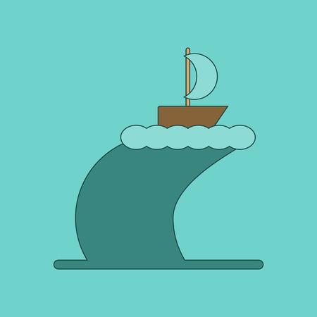 rash: flat icon on stylish background ship storm