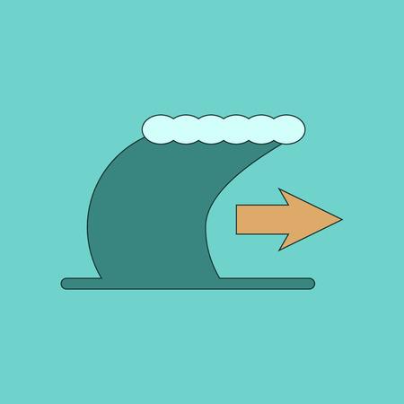 flat icon on stylish background tsunami movement Illustration