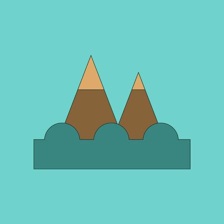 flat icon on stylish background tsunami mountains Illustration