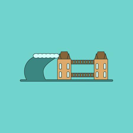 sea disaster: flat icon on stylish background tsunami city