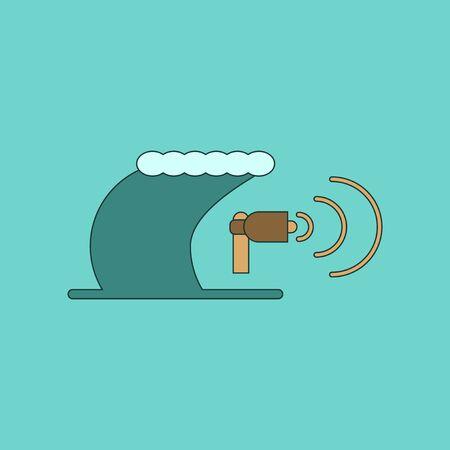 tsunami: flat icon on stylish background tsunami loudspeaker Illustration