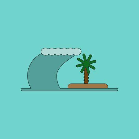 tsunami: flat icon on stylish background tsunami Island