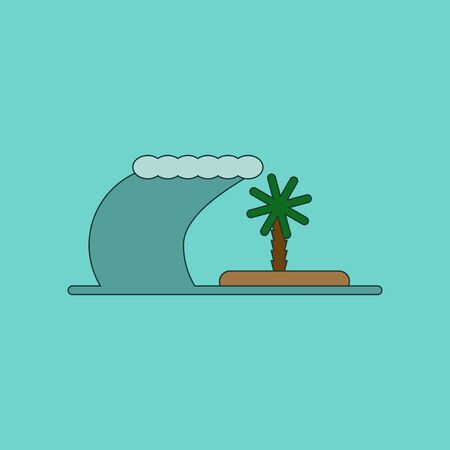 flat icon on stylish background tsunami Island