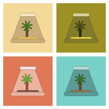 tsunami: assembly of flat icons ocean tsunami Island