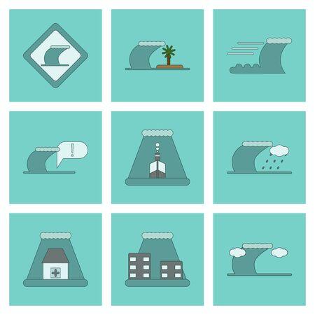tsunami: assembly of flat icons nature disaster tsunami