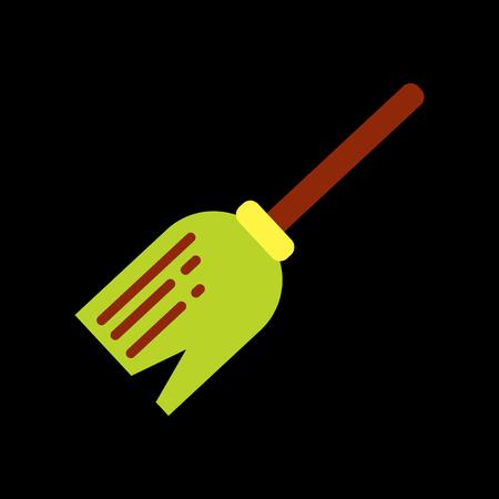 empleadas domesticas: icono de plano sobre la escoba de bruja elegante fondo de Halloween