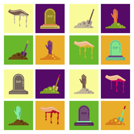 and plot: assembly of flat icons halloween zombie hand grave Plot shovel