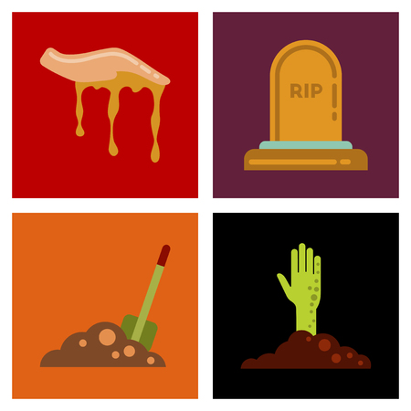 assembly of flat icons halloween zombie hand grave Plot shovel