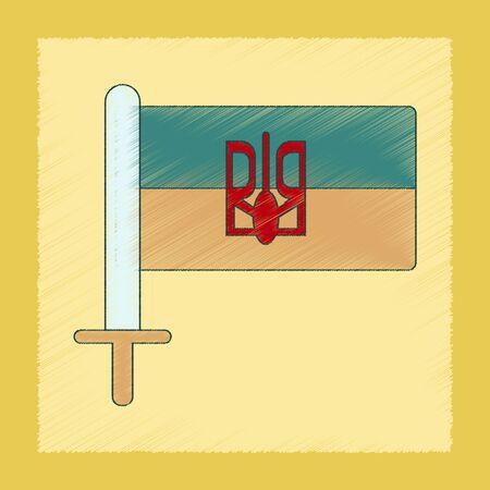ukrainian flag: flat shading style icon of Ukrainian flag Illustration