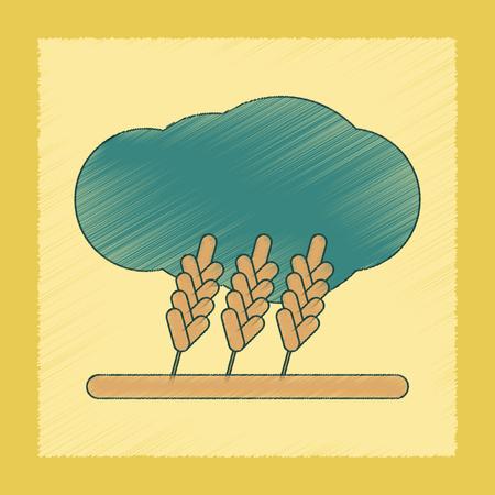 horizon over land: flat shading style icon of wheat cloud
