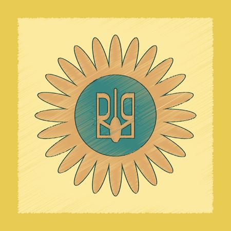 emblem of ukraine: flat shading style icon emblem of Ukraine