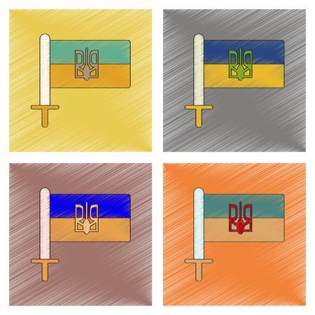 ukrainian flag: assembly flat shading style icon of Ukrainian flag